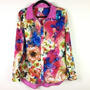 Beige by eci Colorful Floral Polka Dot Blouse